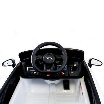 Электромобиль Audi S5 Cabriolet LUXURY белый (колеса резина, сиденье кожа, пульт, музыка)